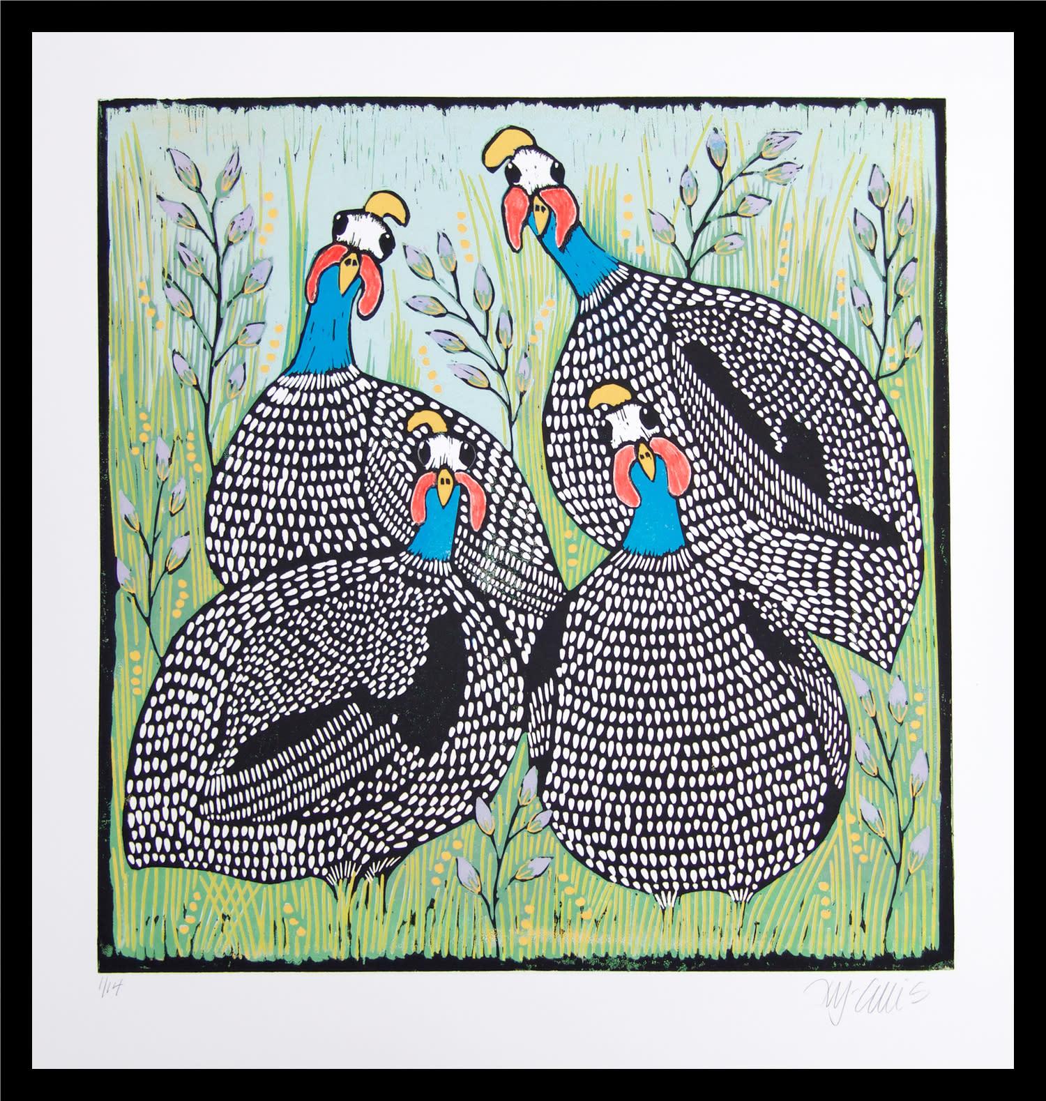 4 guineahens framed wvuyhf