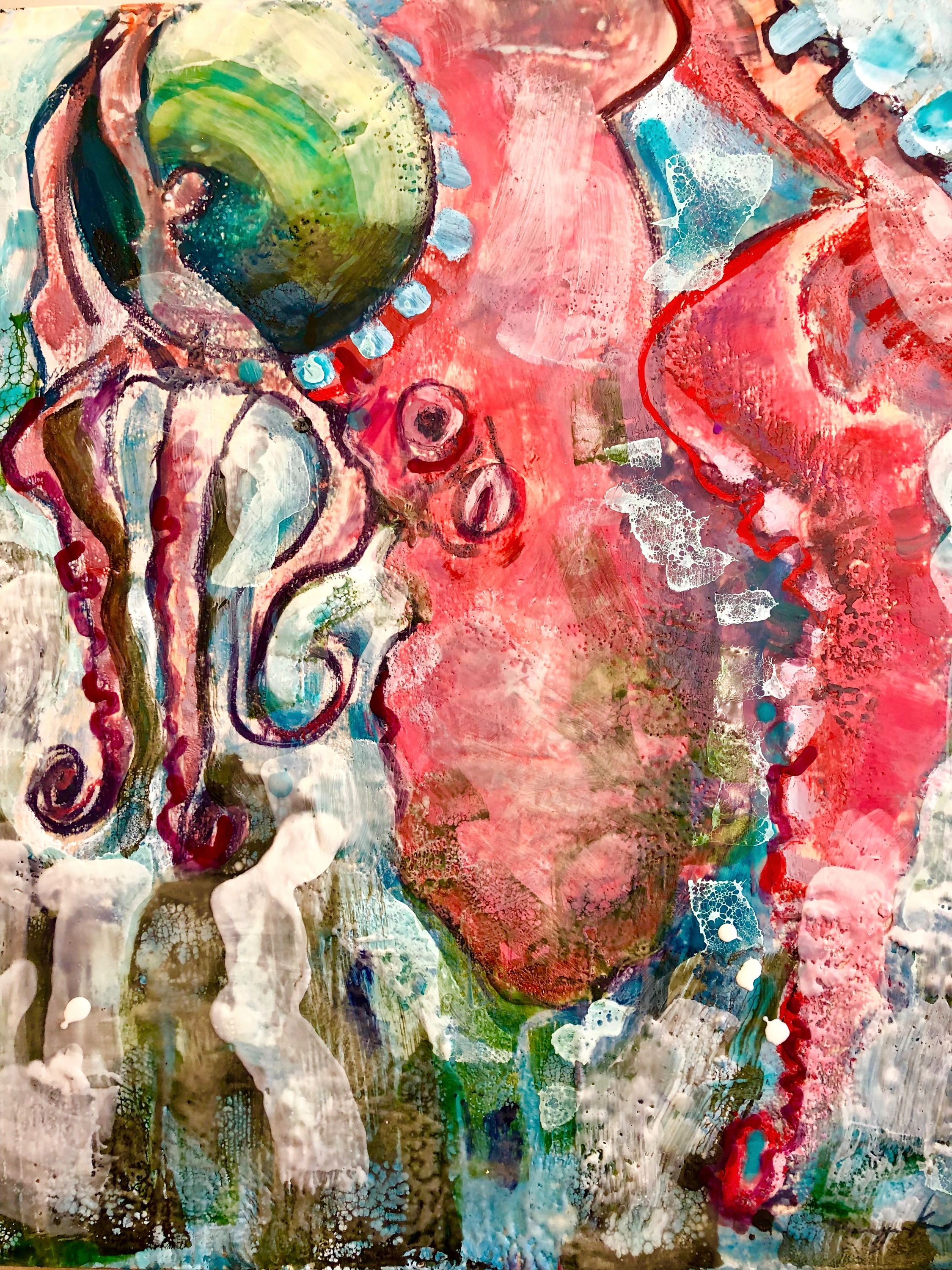 Feeling playful red octopus encaustic wax and mixed media on wood 24x20 a5idts
