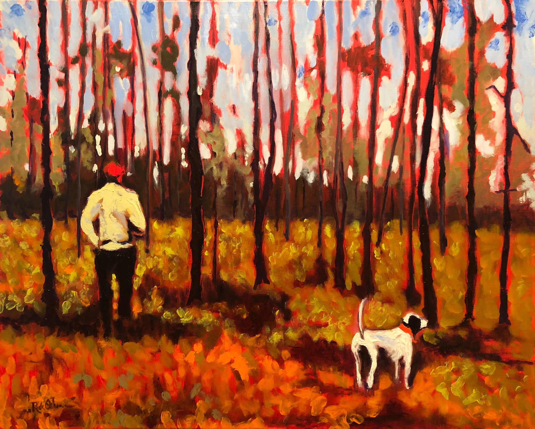 Man and hunting dog sm kwgmxq
