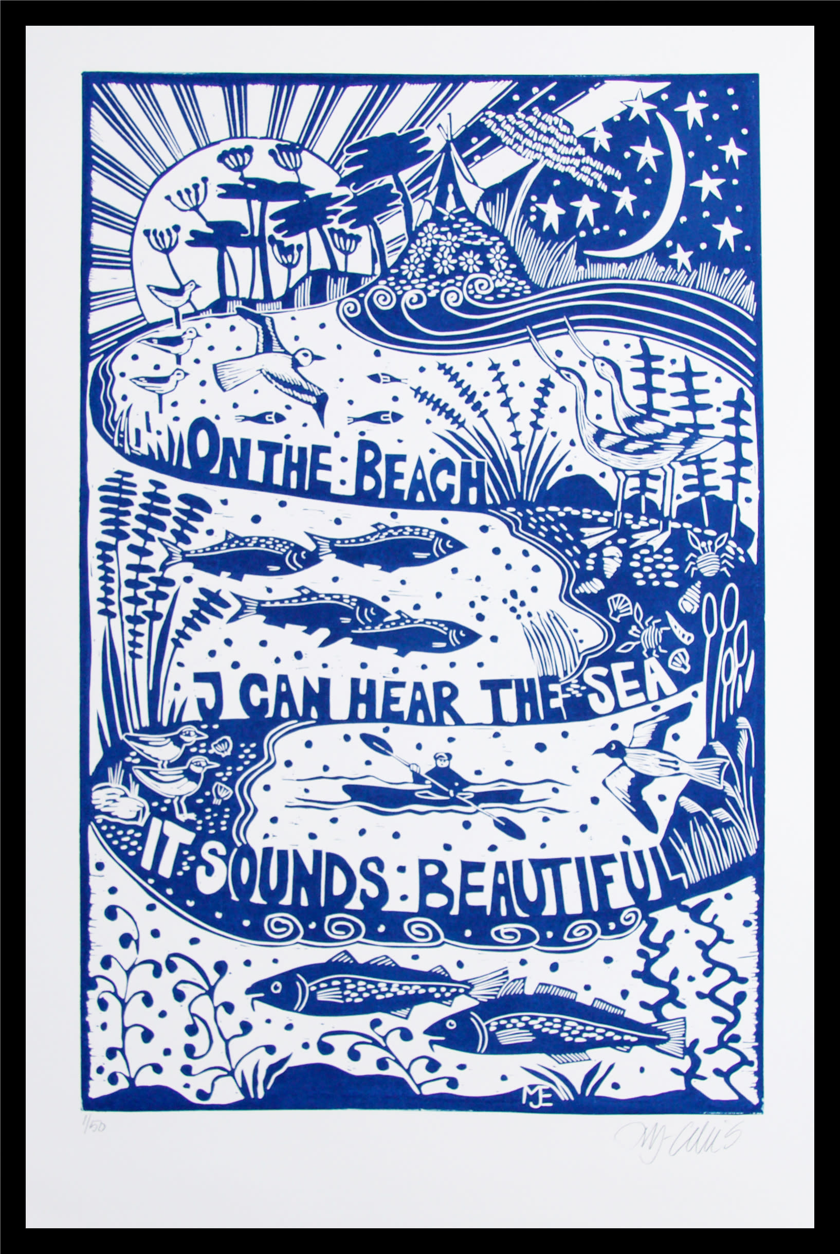 On the beach blue framed rsfuyd