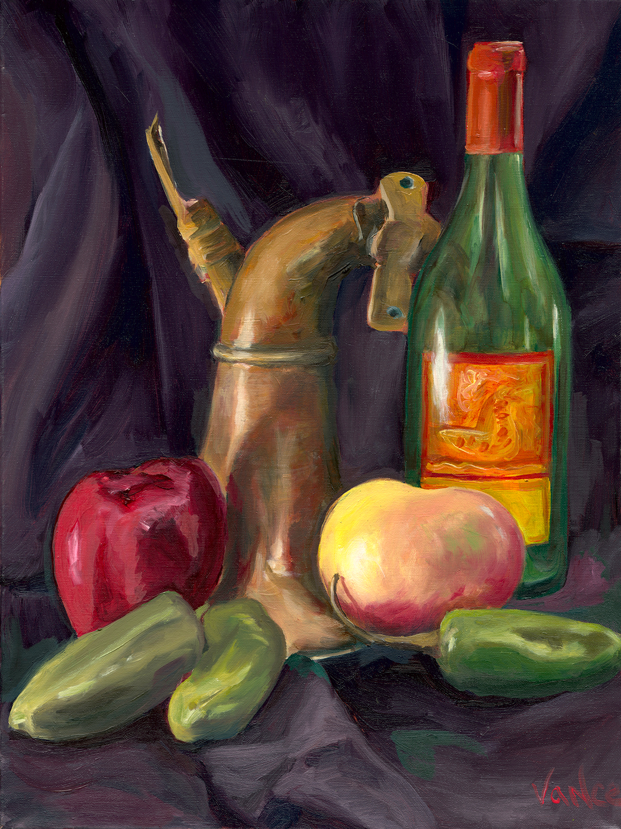 Opv art still life produce bottle and horn low res jpg file ry1kfy