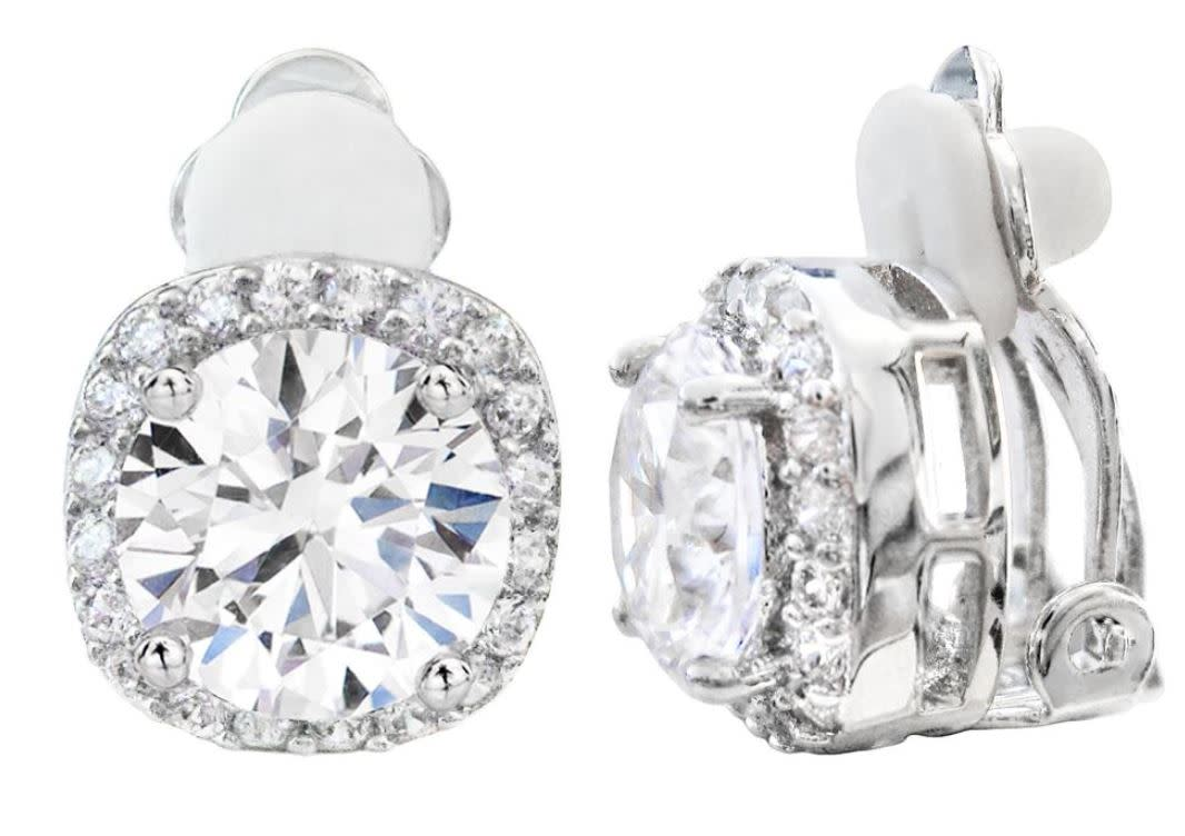 Silver 3 carat cushion cut clip earrings ebg0f2