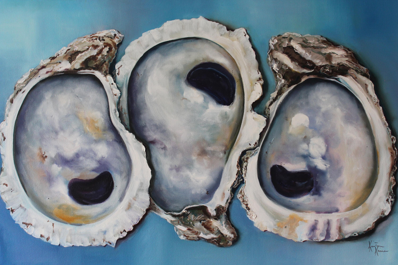 Oyster shells on blue 24x36 zodjfa