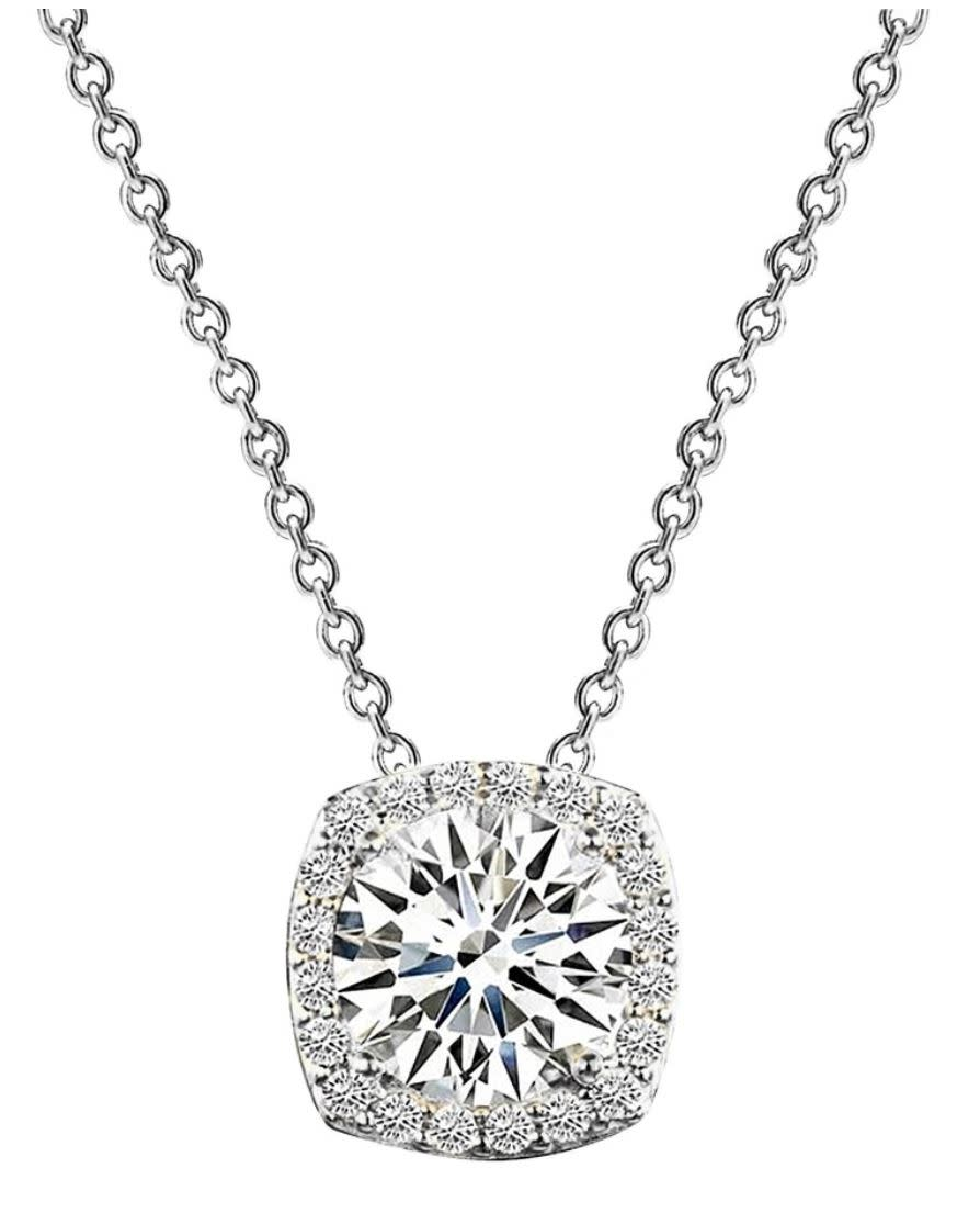 Sterling silver 3 carat cushion cut floating necklace a ducs0m