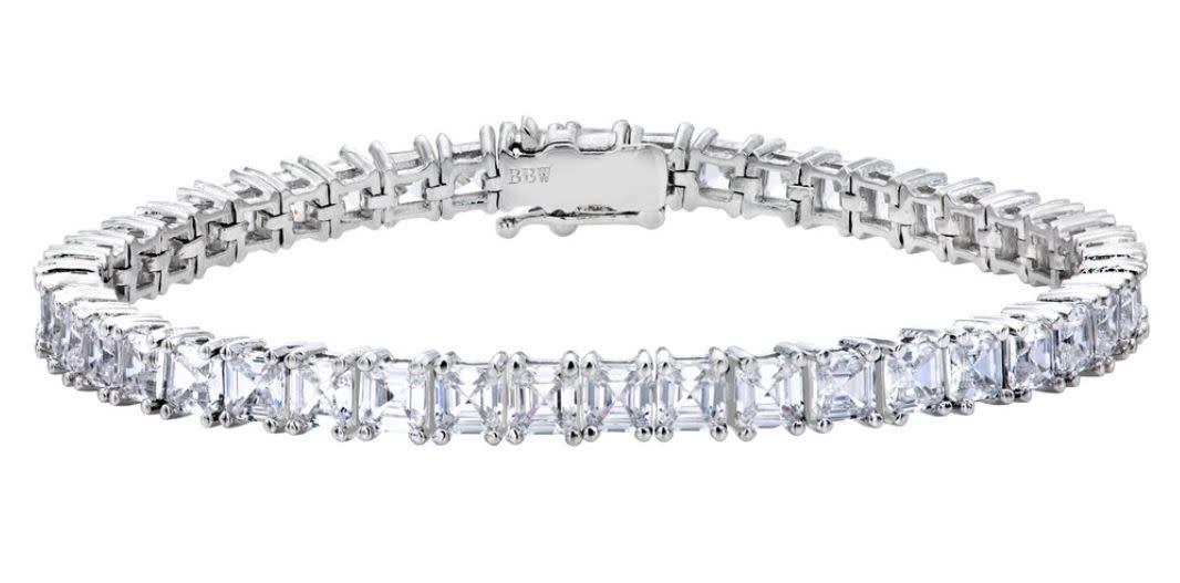 Silver asscher cut tennis bracelet a ge42pq