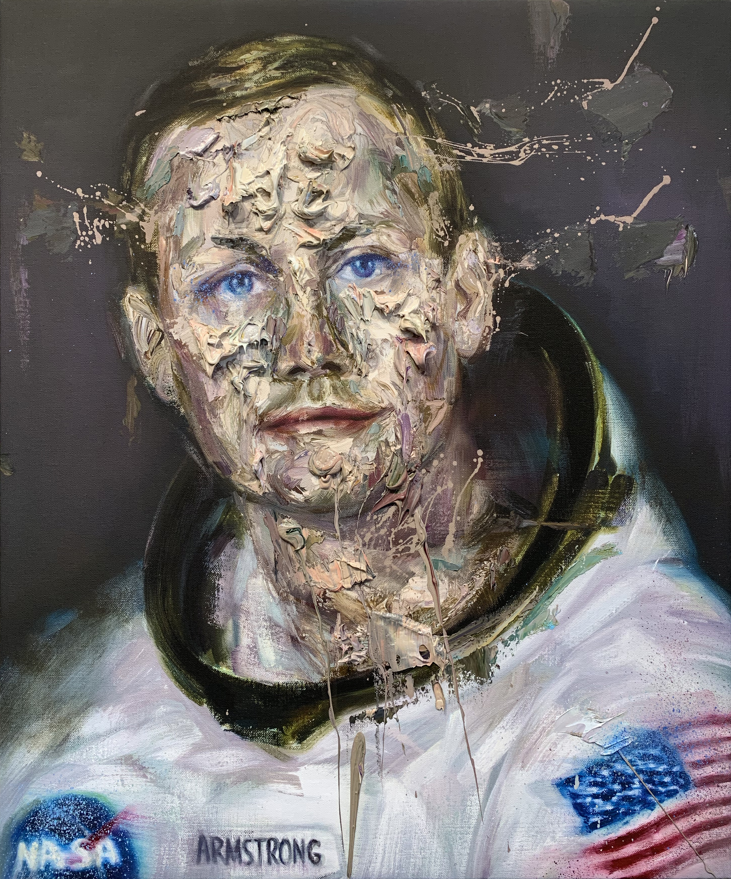 Neil armstrong oil on print tl43vh