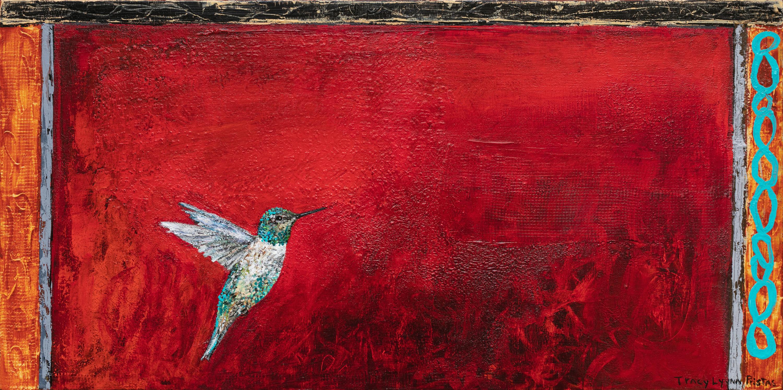 Glitter grandeur red hummingbird art tracy lynn pristas q7gjfh