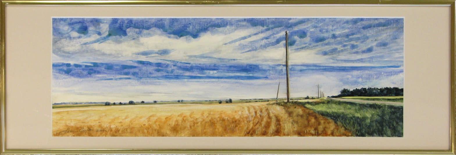 65louis copt   kansas wheatfield   watercolor on board   7x19   375 i36pnt