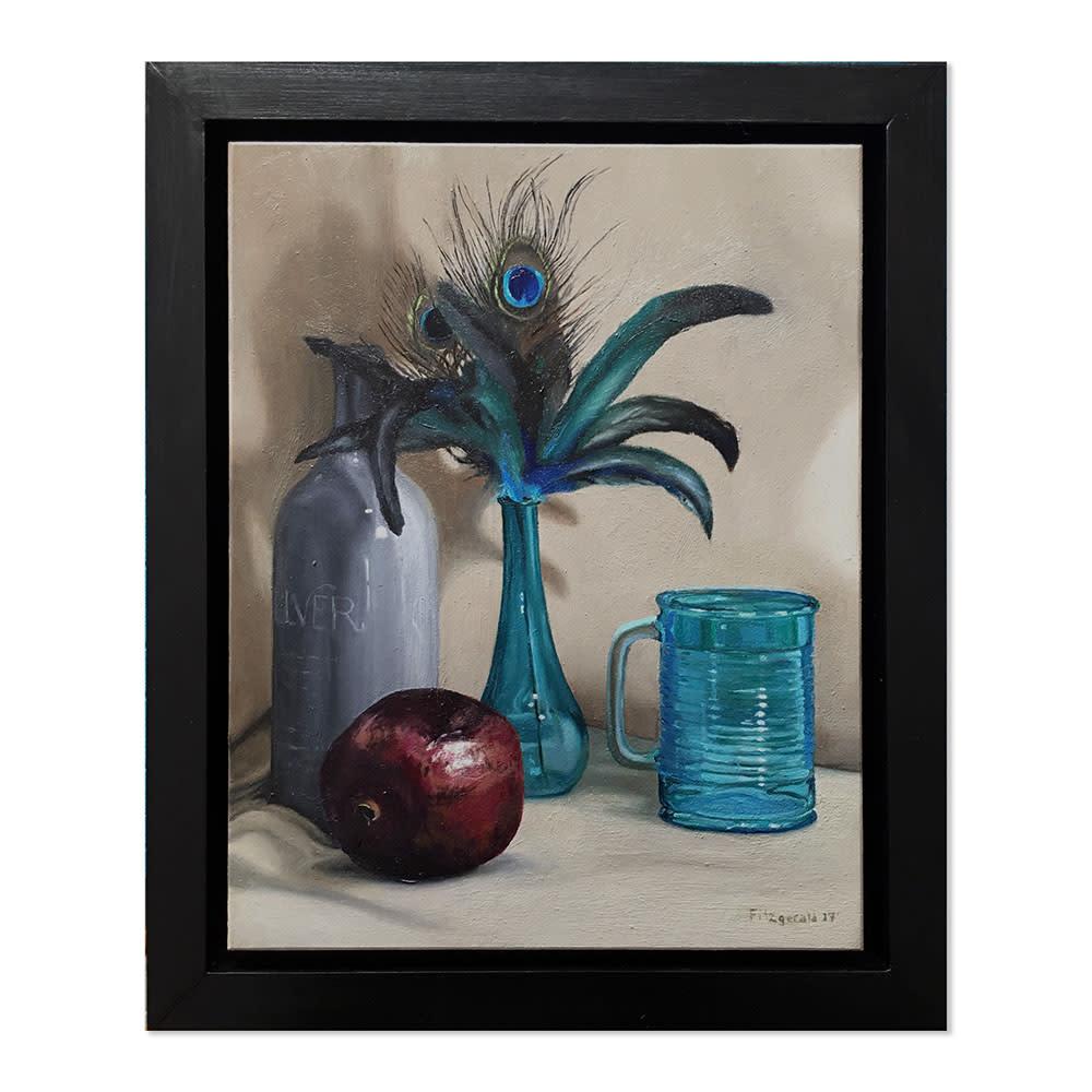 Stilllife in blue framed painting rqcfk8