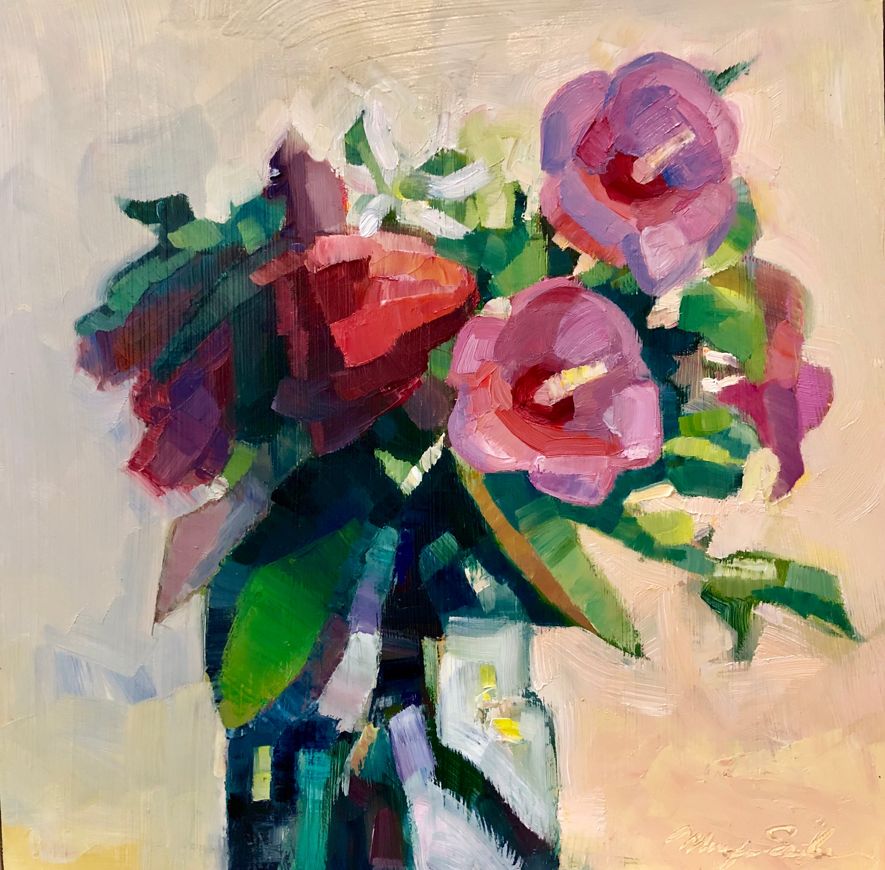Still life with mauve rose of sharon oil 12x12 gfroxq