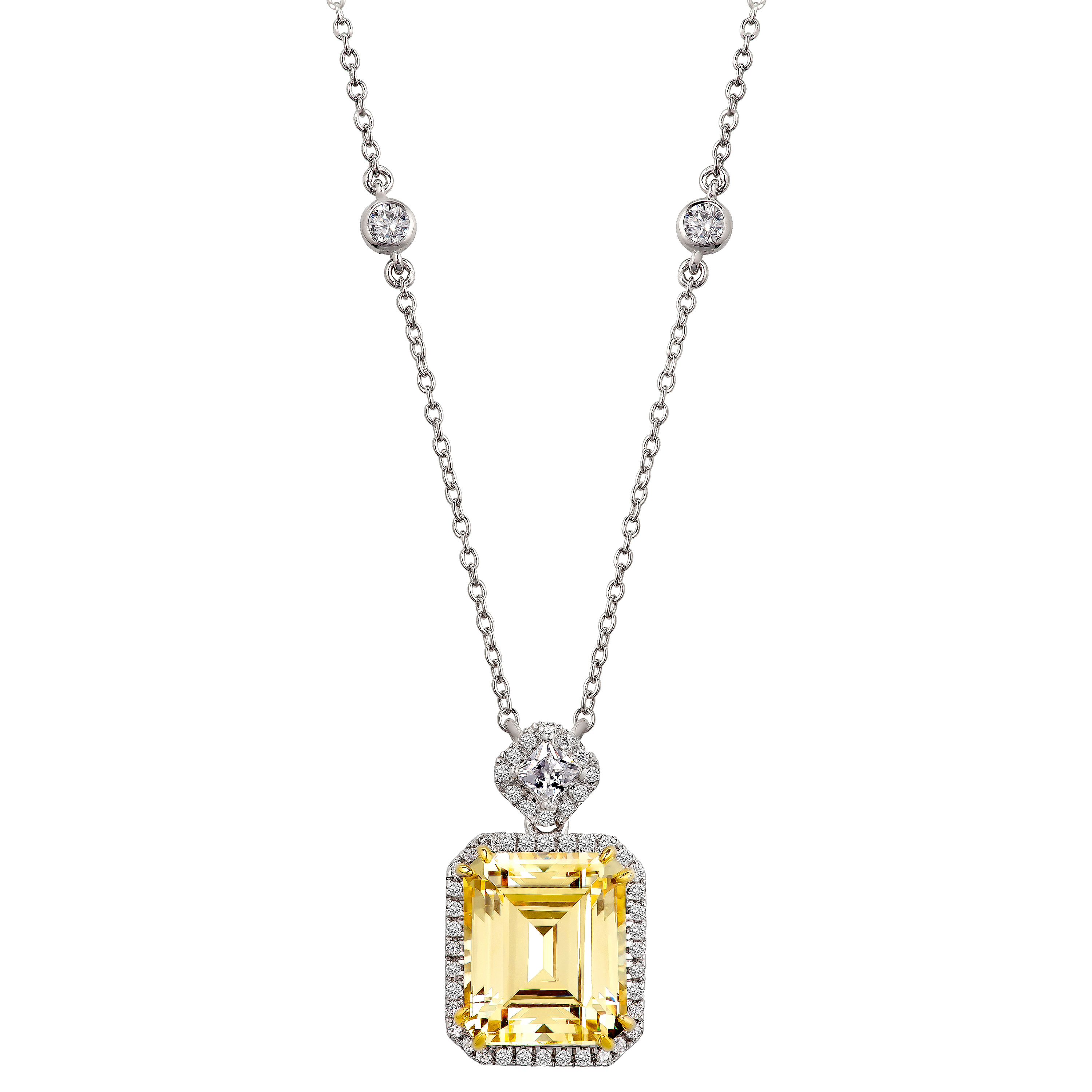 Silver fancy light yellow emerald cut station vq00zs