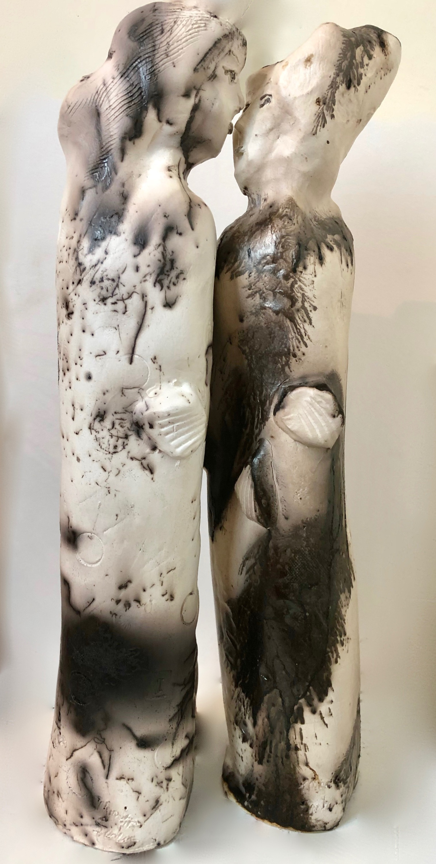 Ceramics kissing couple 2 lightness pair raku horsehair ovara sugar 14x4 ea us3gcn