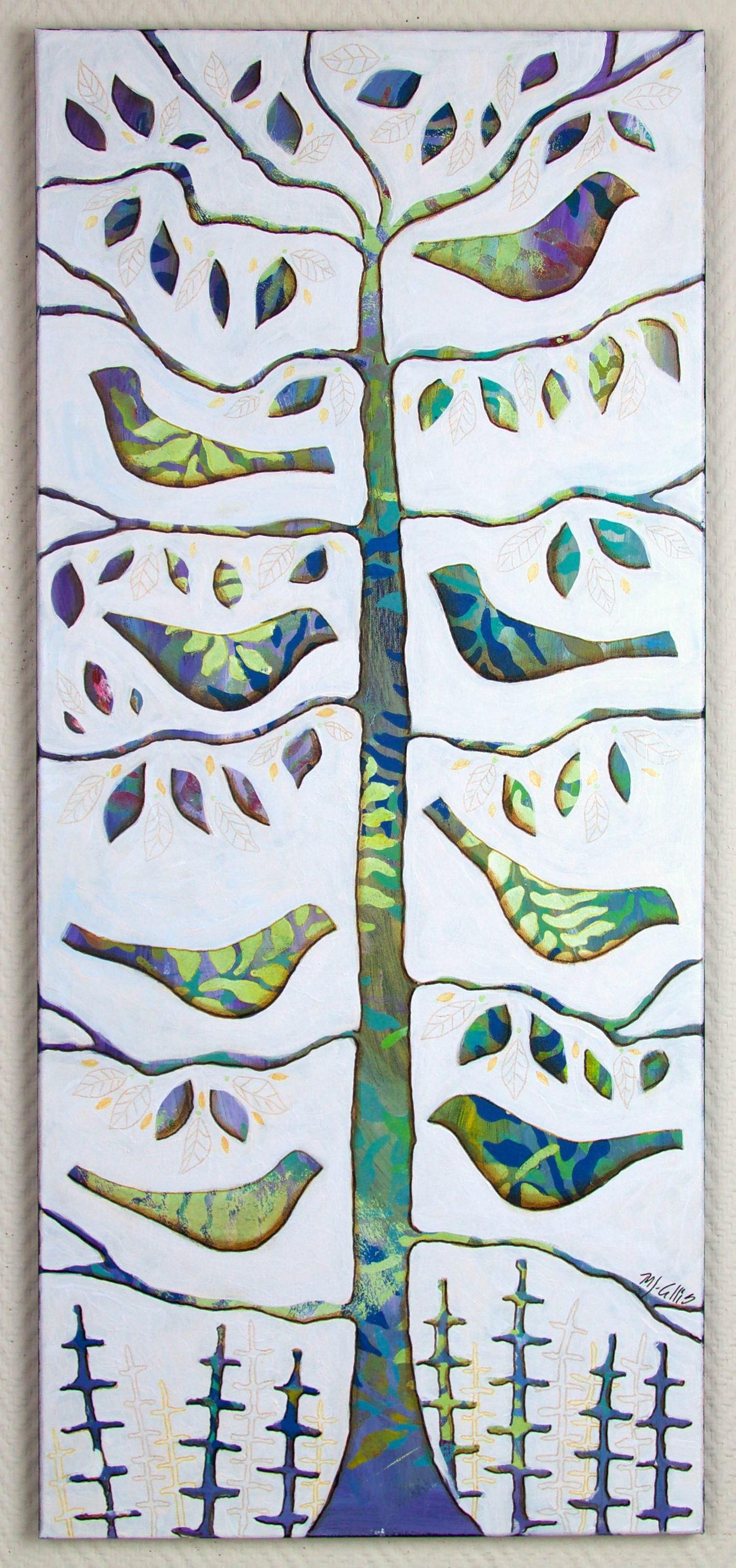 Birds in a tree painting uvqp4o