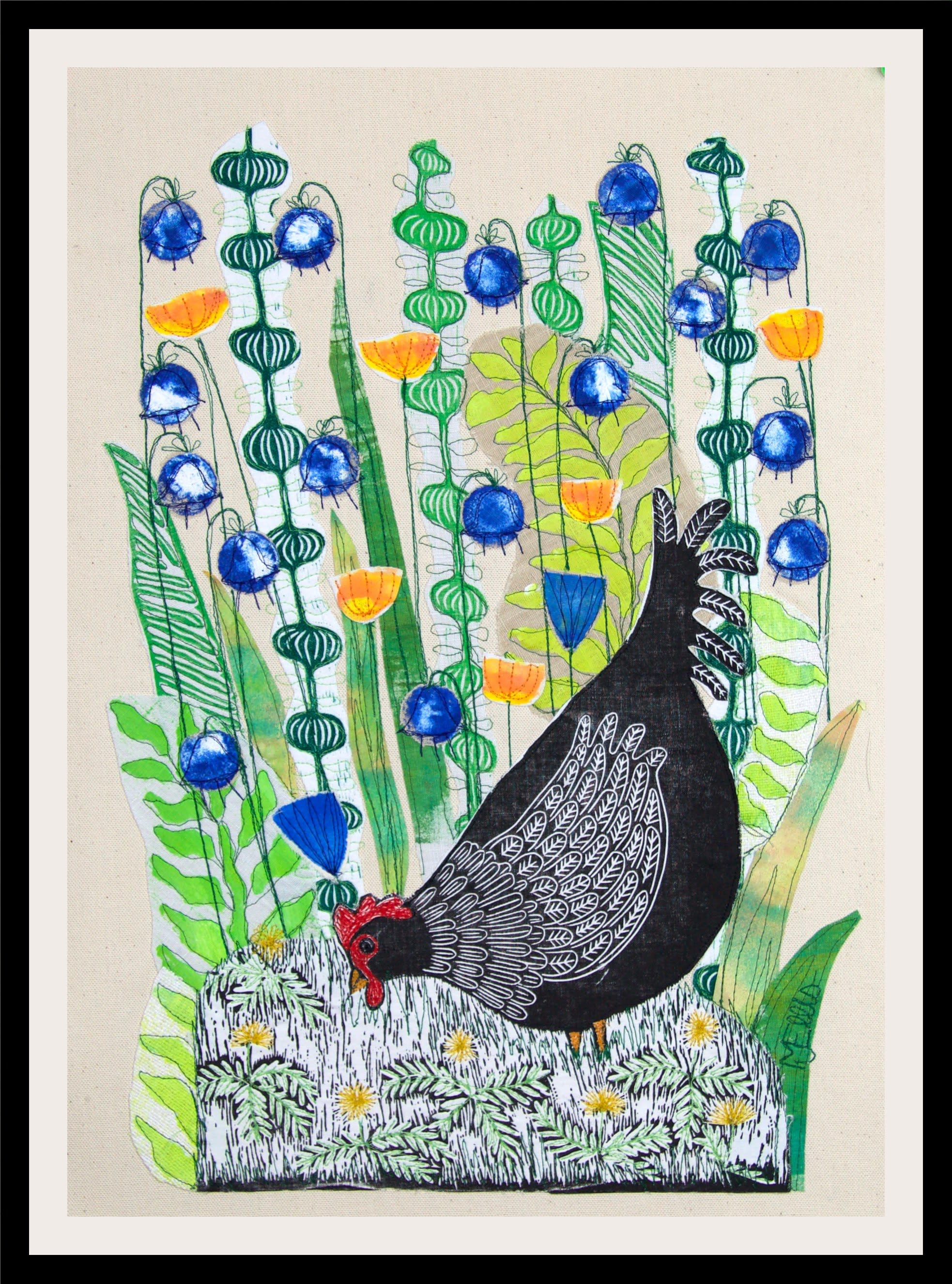 Doris in the bluebells lino collage framed t40aml