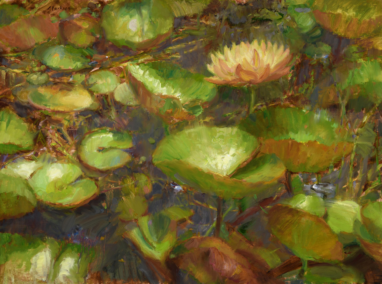 Watear lilies amongst the rushes signed adj lightened dwepln