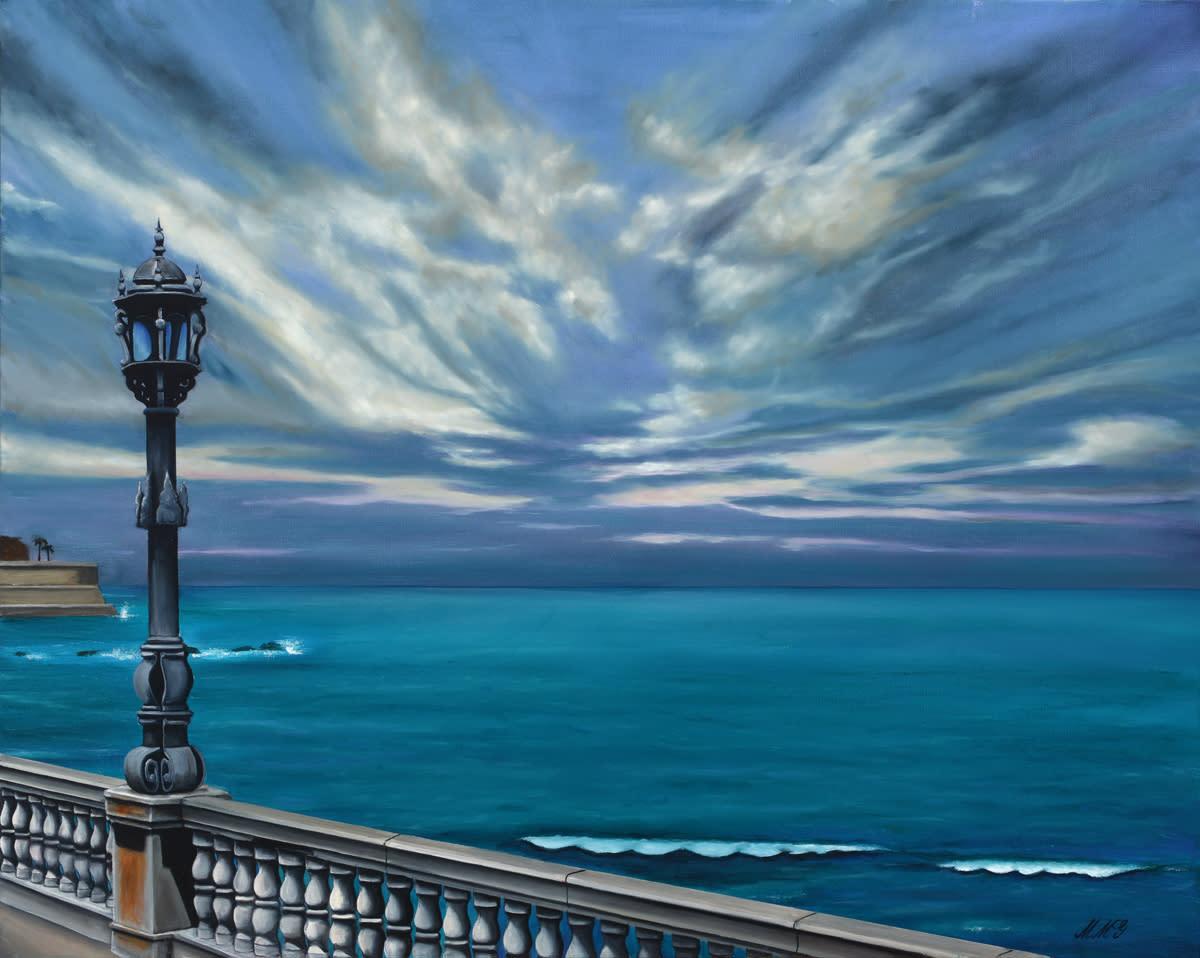 Mediterranean sea walk  oil on canvas by monica marquez gatica mmg art studio mxla3z