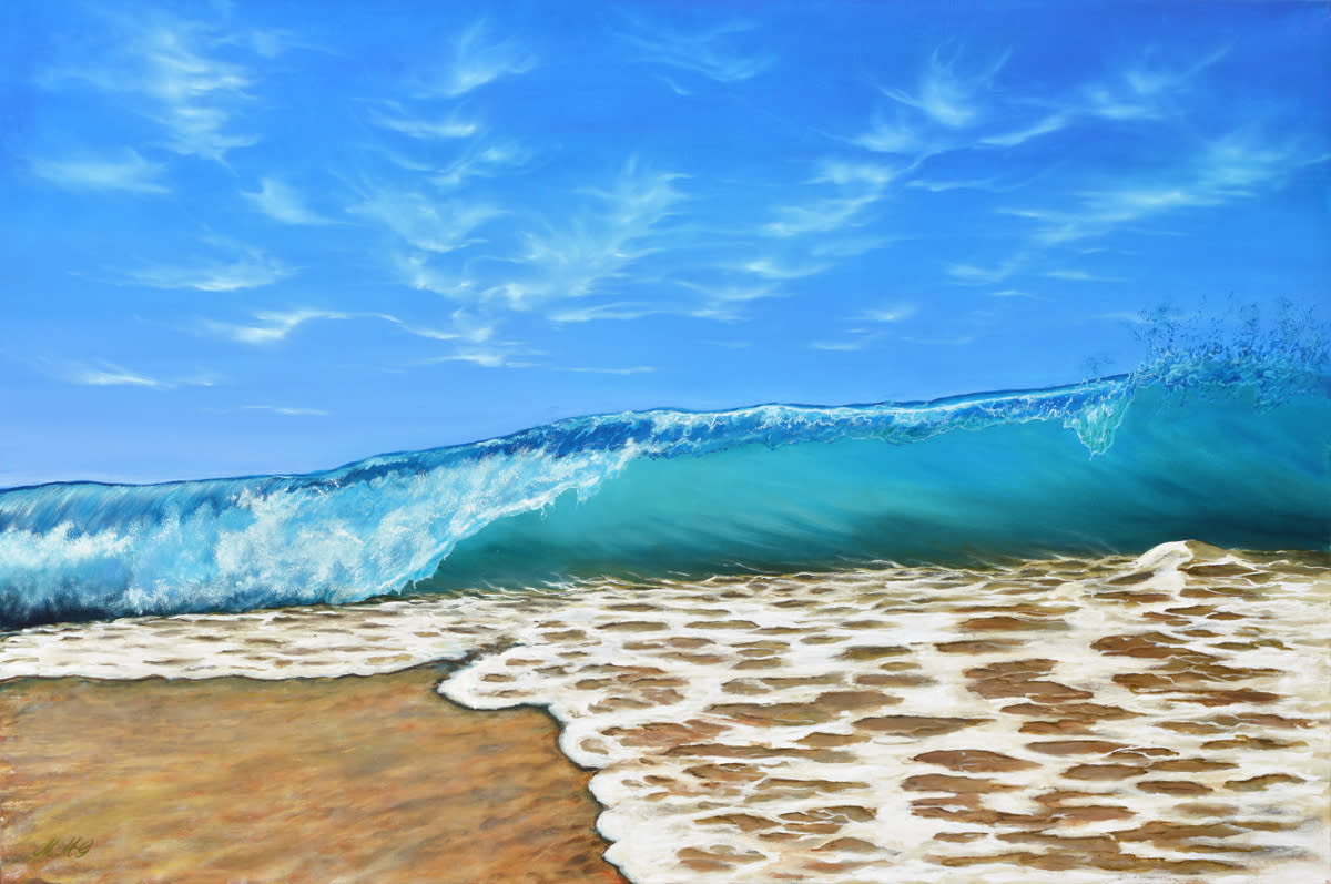 Beach walk  oil on canvas by monica marquez gatica mmg art studio wbxnvo