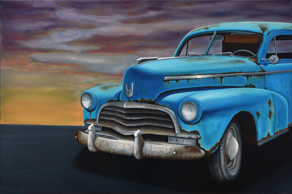 Classic unrestored car  oil on canvas by monica marquez gatica mmg art studio a pnrqyh