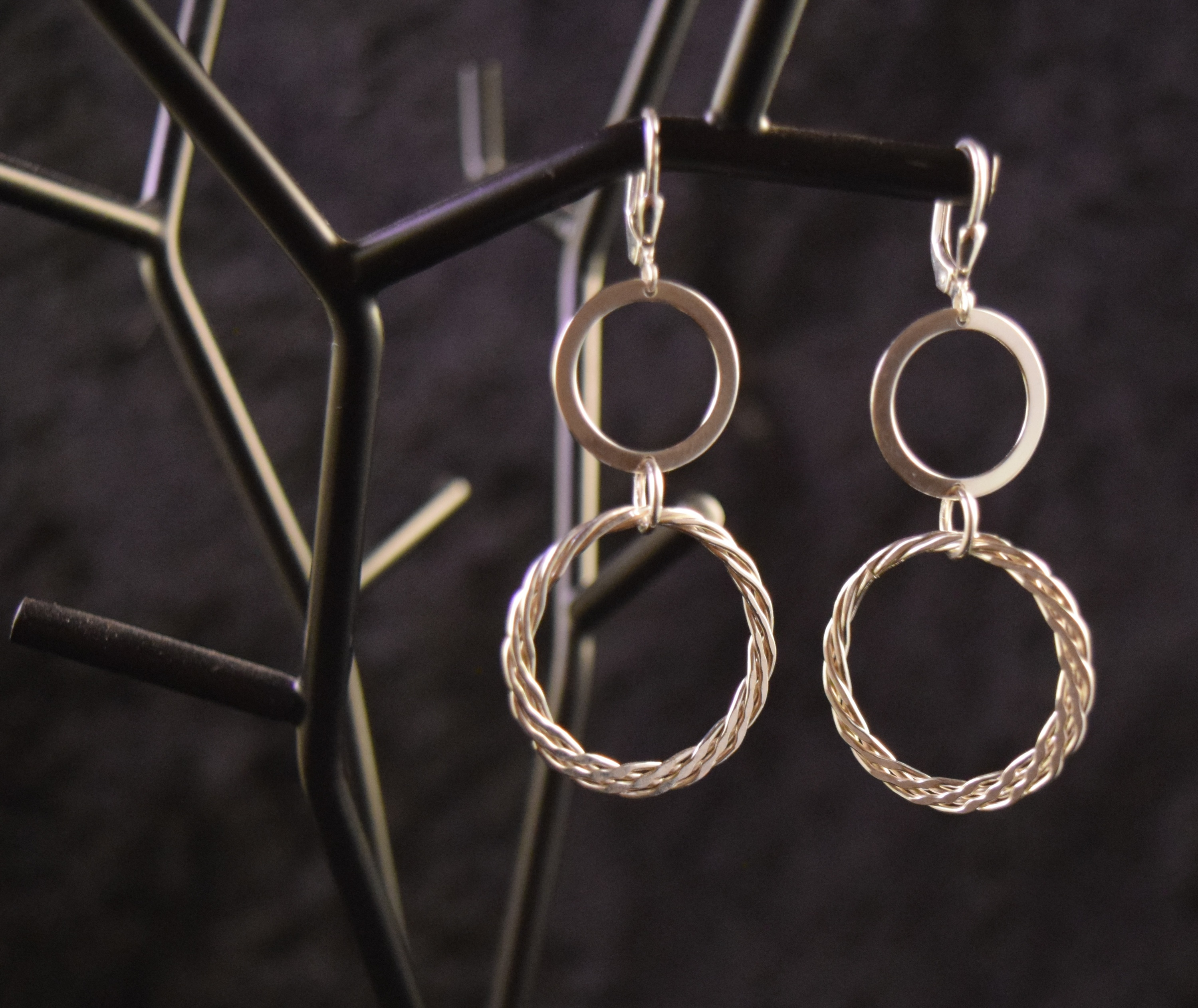 Sve014 double twisted round dangling earrings 925 silver 2 uncej6