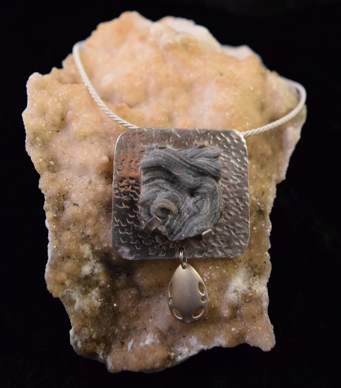 Svnl007 silver druzy agate free form 3 fbzdph