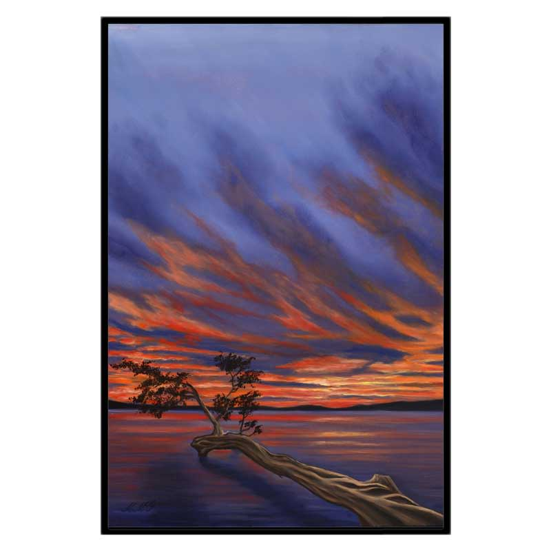 32x48 cgw black frame lake sunset ckb6yd