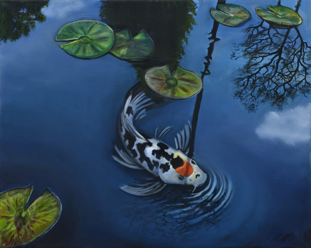 Koi pond  oil on canvas by monica marquez gatica mmg art studio d7wonn
