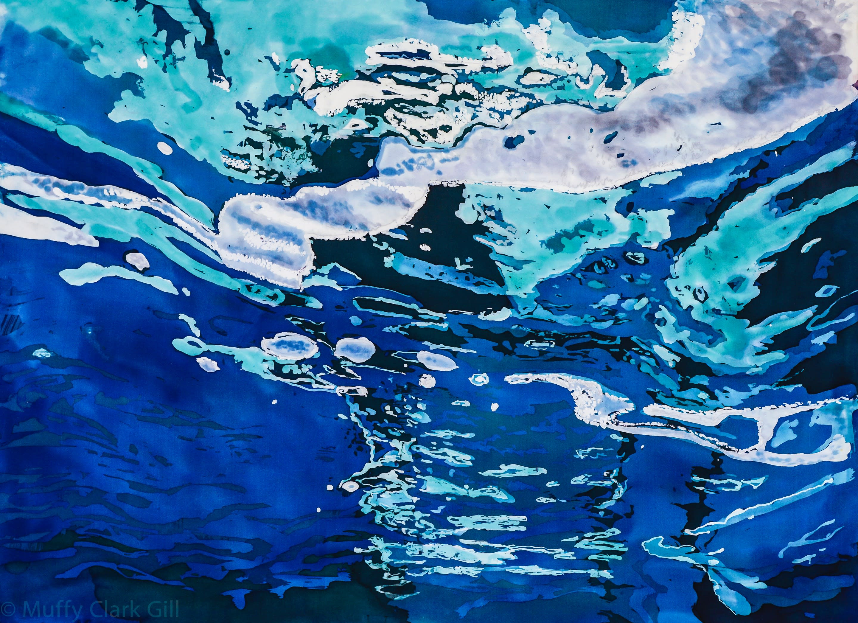Agua xxii  blue waters 2015 rozome on silk  32 x 40 in version 2 uijypj