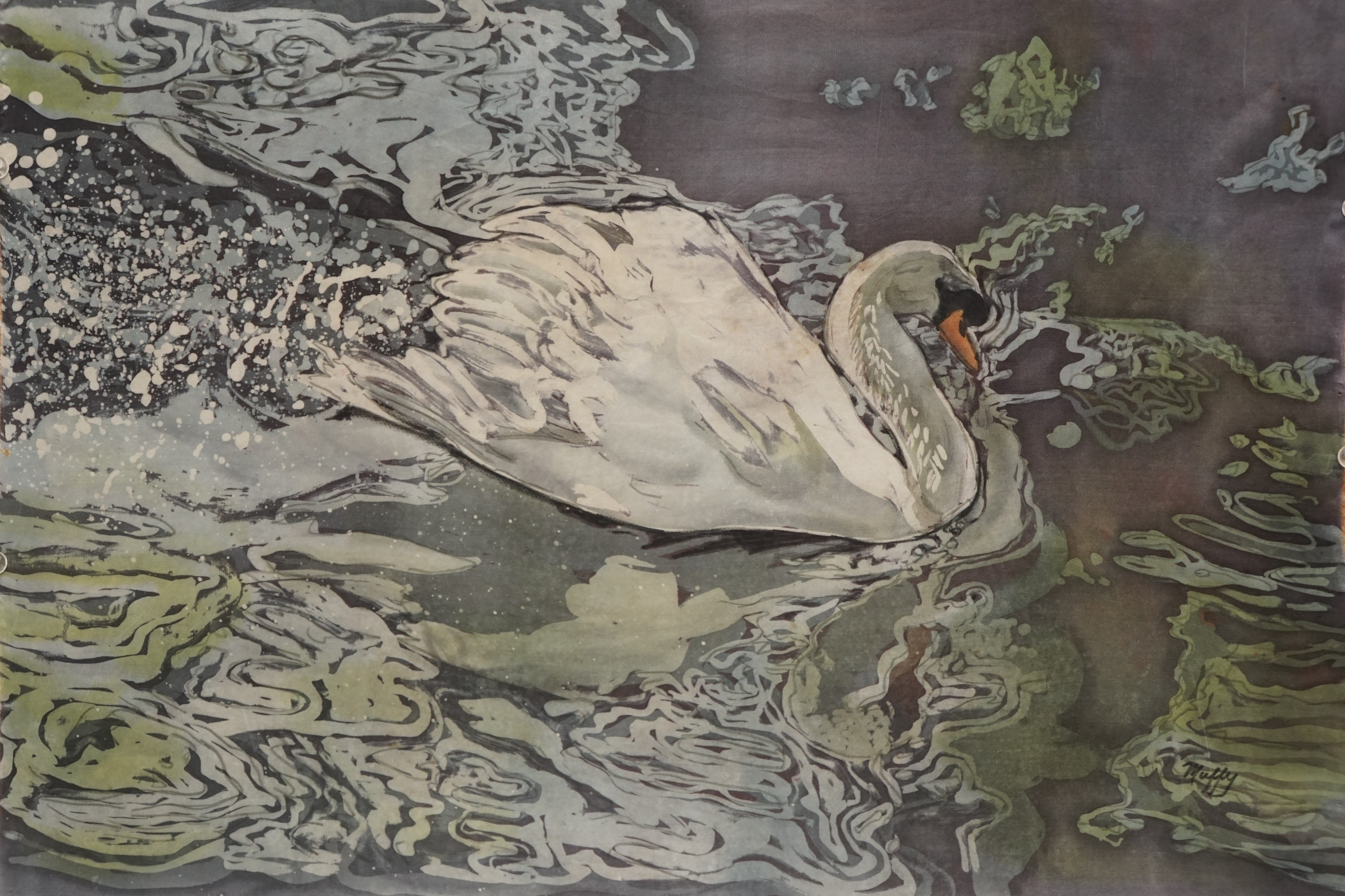 Muffy clark gill silver swan rozome on silk 22 x 26 in  2018 yzipmt