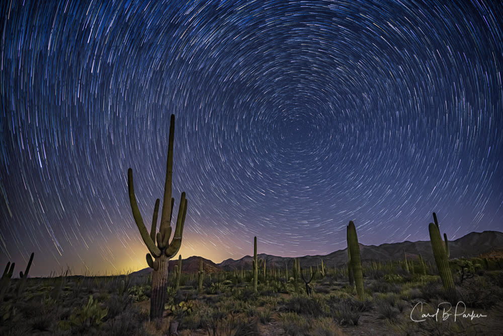 Star trails in the tucson mountain park cgx4h2