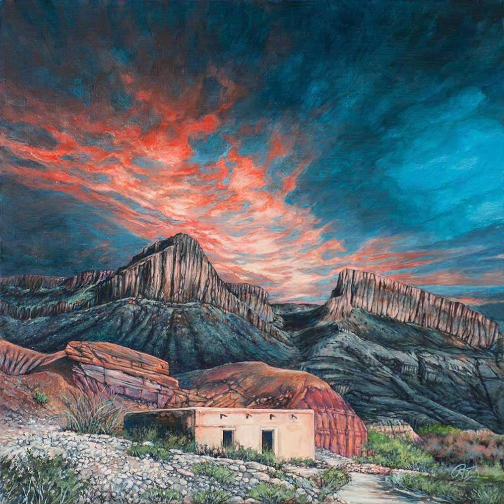 Rebecca zook descent to dusk 18x18 acrylic on panel dallas art gallery compr jkuu7i