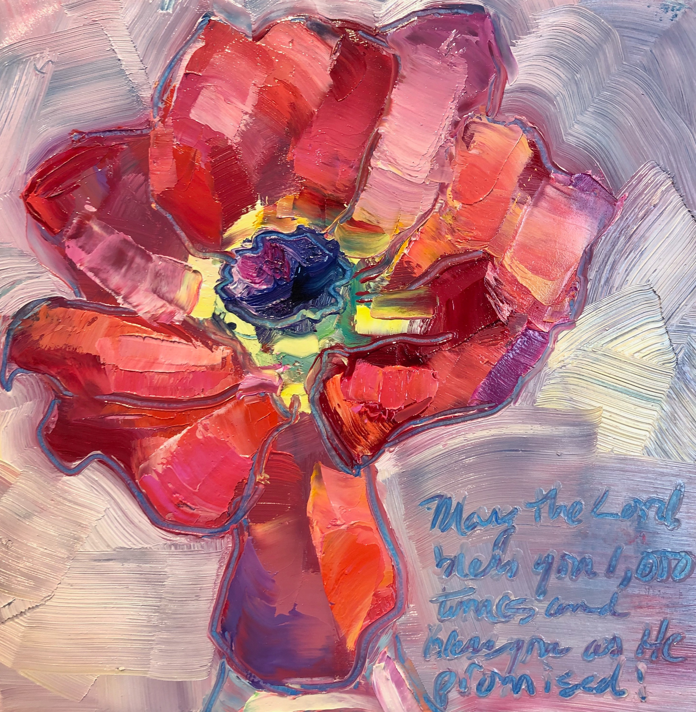 Together still life with pink anemone 2 oil 6x6 lrez3p
