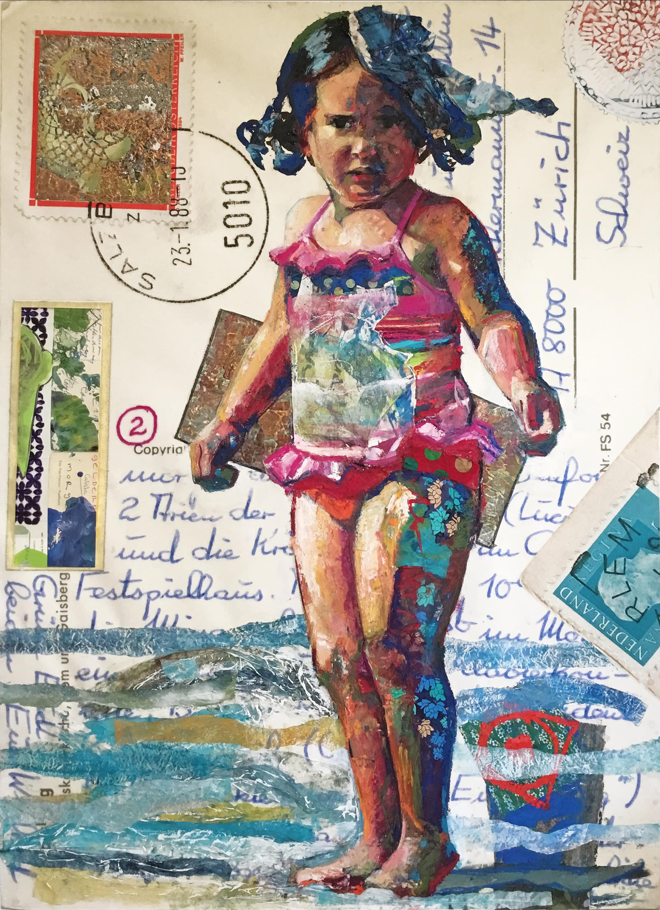 Beach girl in striped bathing suit w7tbgn