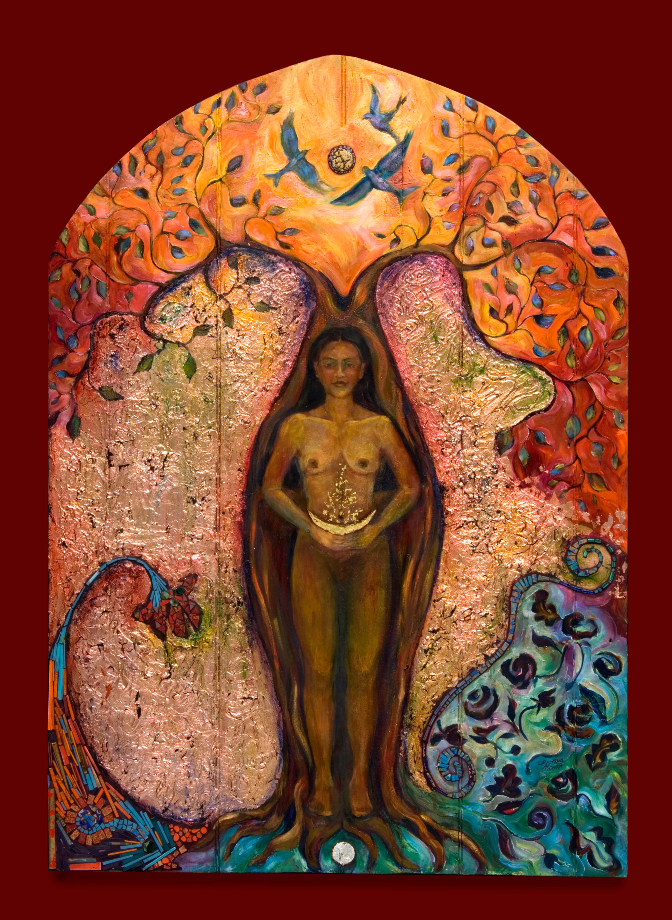 Eve and the tree of knowledge retablo k3vaqw