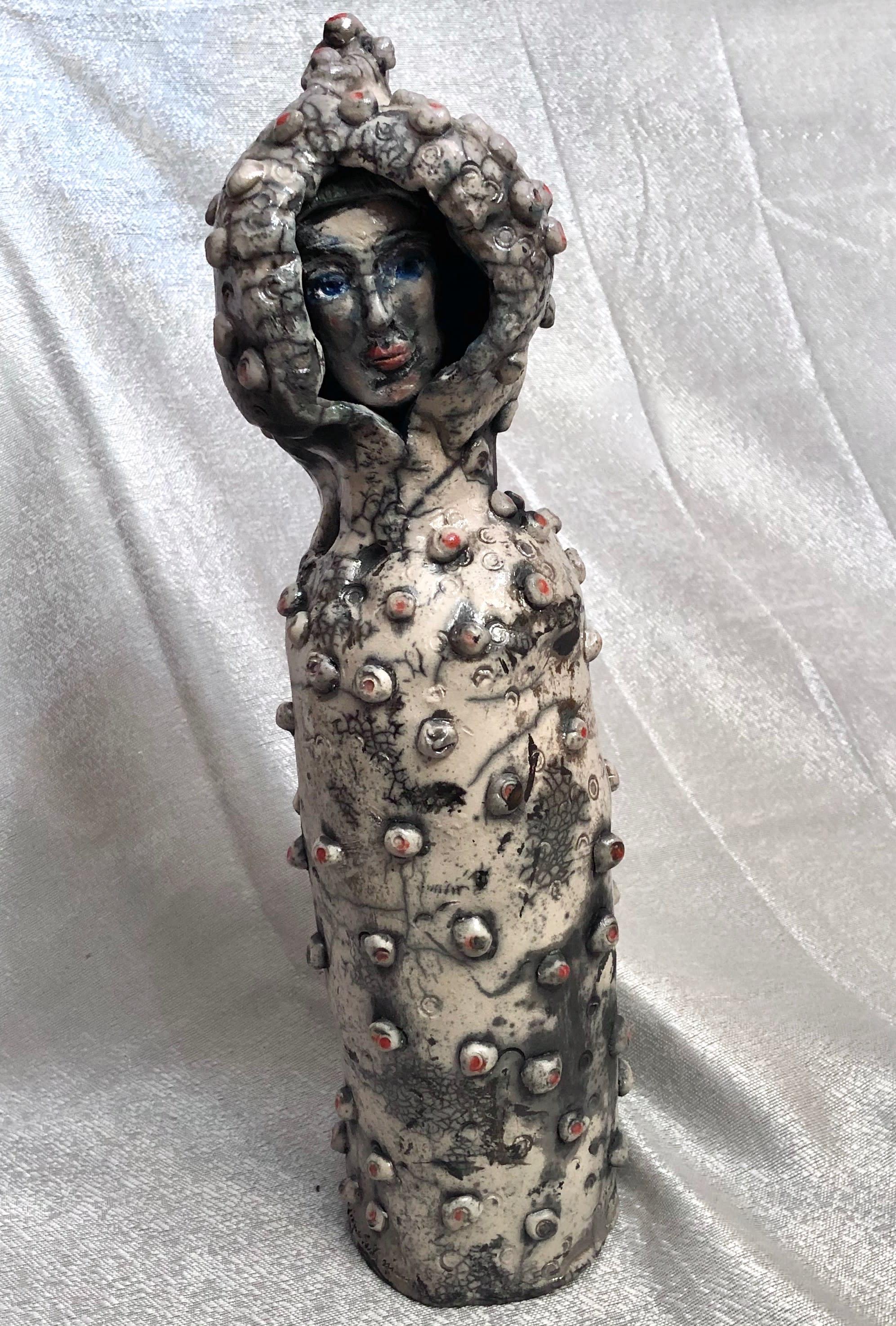 Ceramic glory carrier 2 silver raku 16x5 ehkn2l