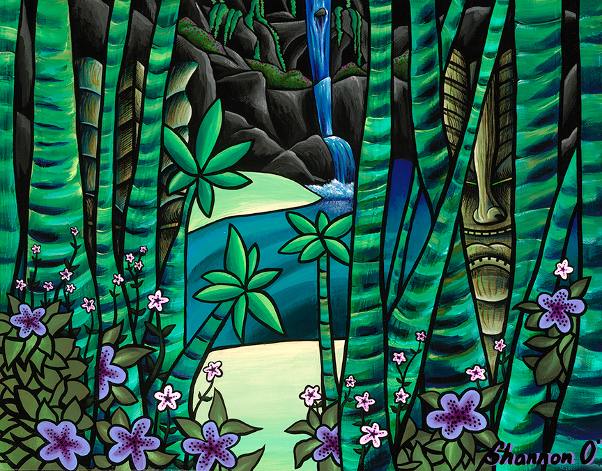 Shannon o conell   guarded cove 11x14 giclee   evo art maui front street lahaina gallery hawaiian colorful tropical ocean bright shapes island pg235a
