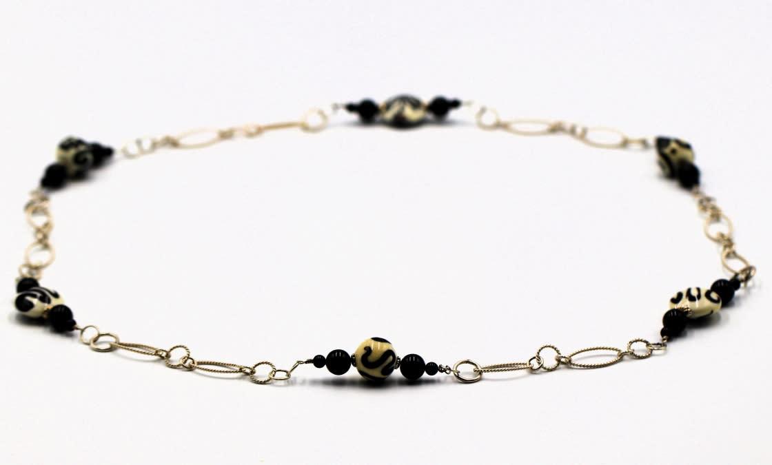 Lampwork glass bead onyx on sterling necklace jessica mayes 120 1 1 jpn5na
