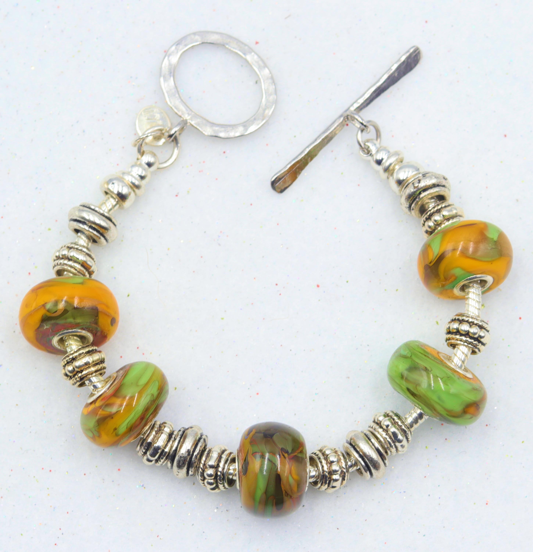 Mark lenn johnson lampwork glass bead bracelet 49.99 r2tkda