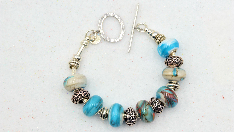 Mark lenn johnson lampwork glass bead bracelet 69.99 b7artn