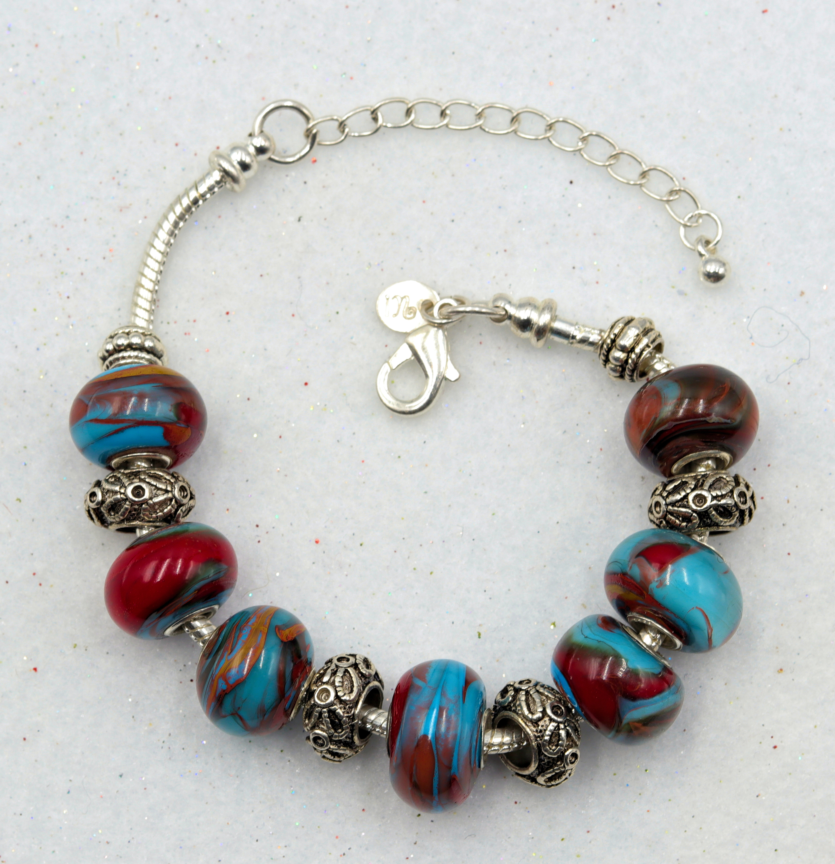 Mark lenn johnson lampwork skyblue red glass bead bracelet 49.99 iwm3xq
