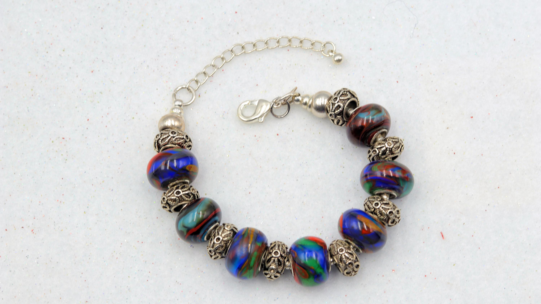 Mark lenn johnson lampwork glass blue green red bead bracelet 69.99 oiolpa