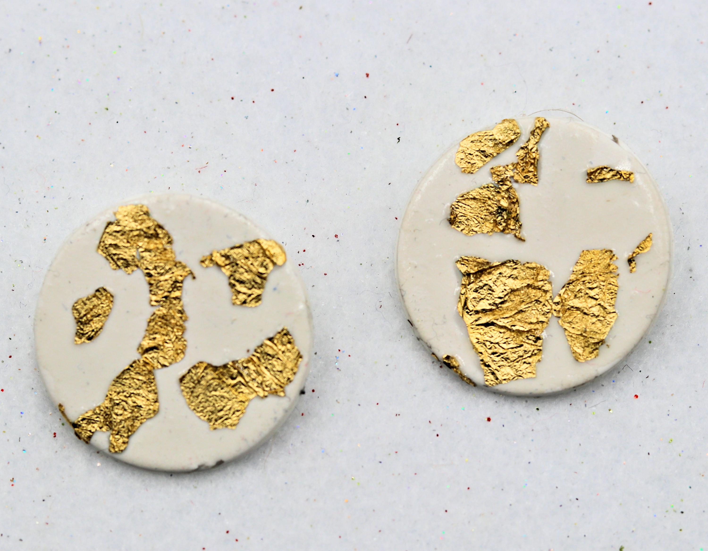 Handmade white gold polymer clay earrings 15 cvdqkl