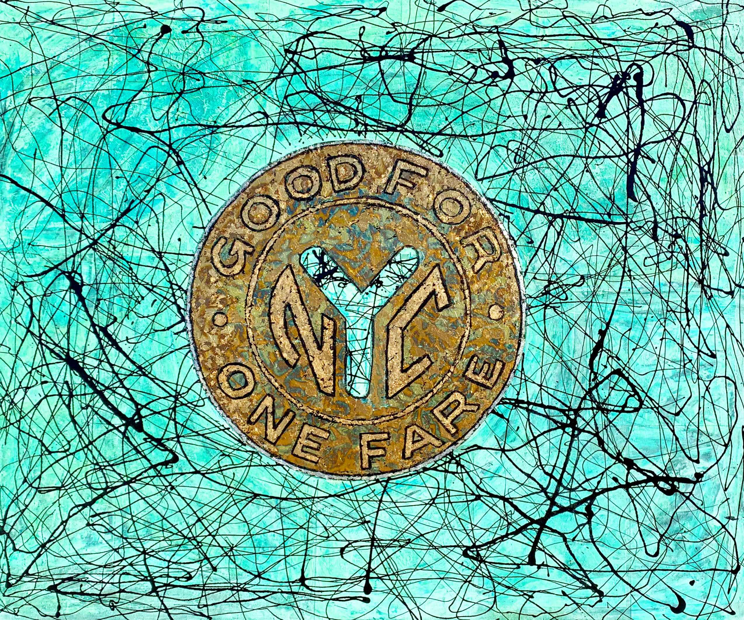 Patina abstract expressionist vintage nyc subway token painting artist paul zepeda mjcjkx