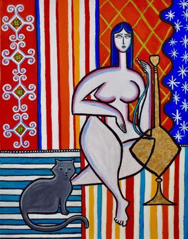 Odalisque with hookah and cat painting paul zepeda 11x14 fcmc8f