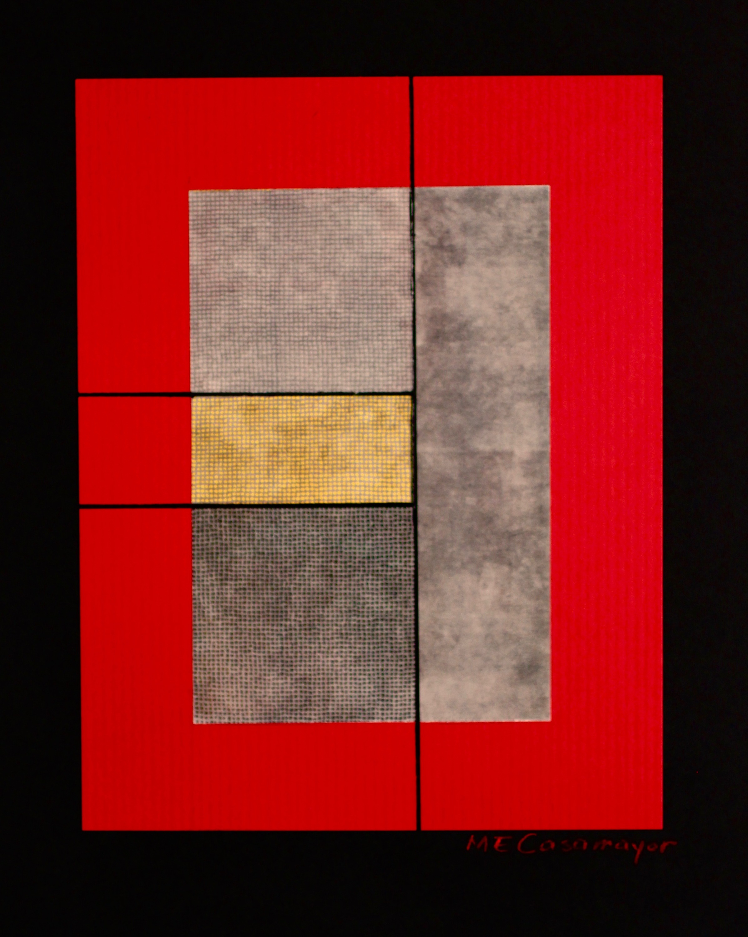 Composition in red gray and yellow ymbdov