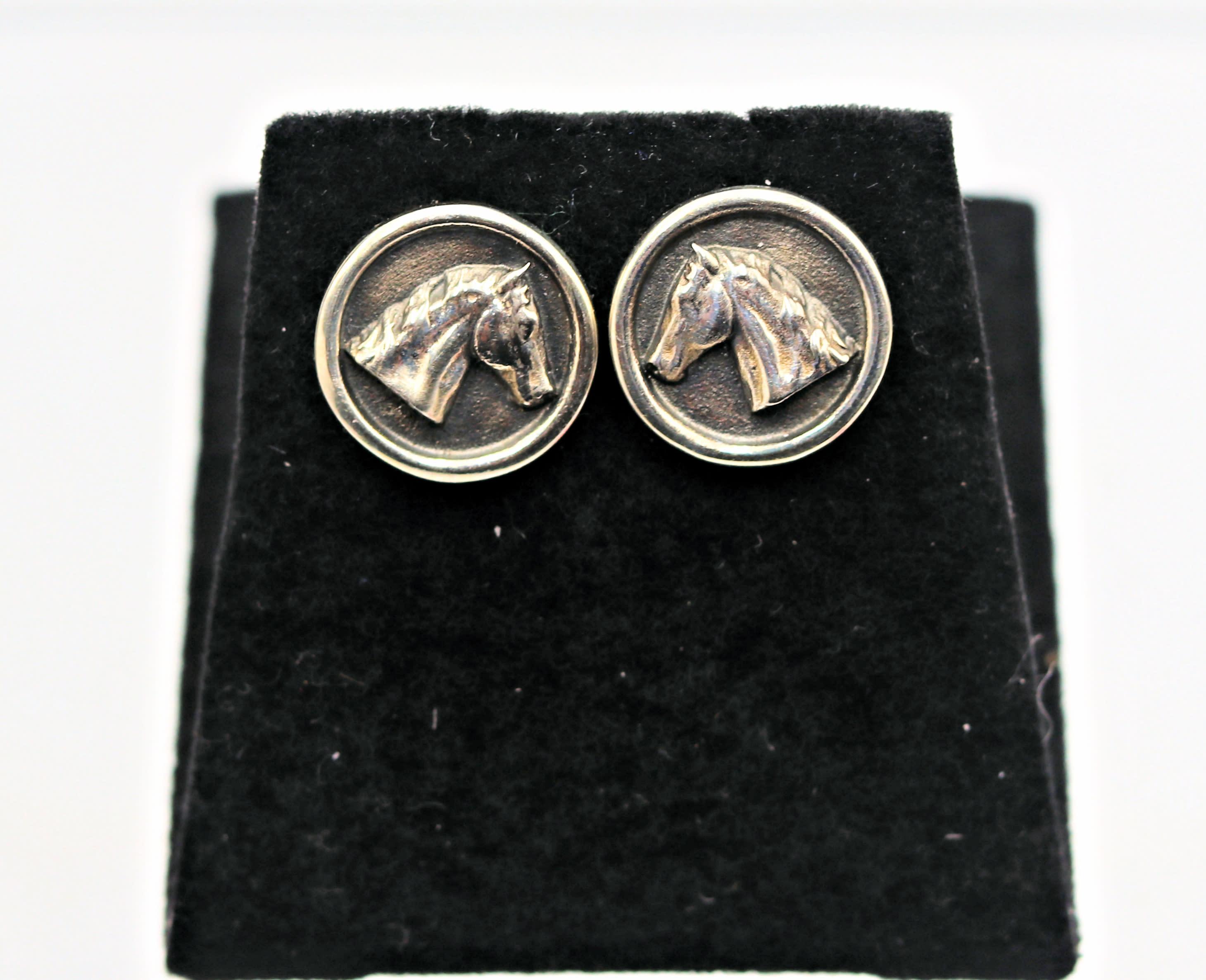 Stephen johnson sterling silver horsehead post earrings high polish finish 125 w5jr5y