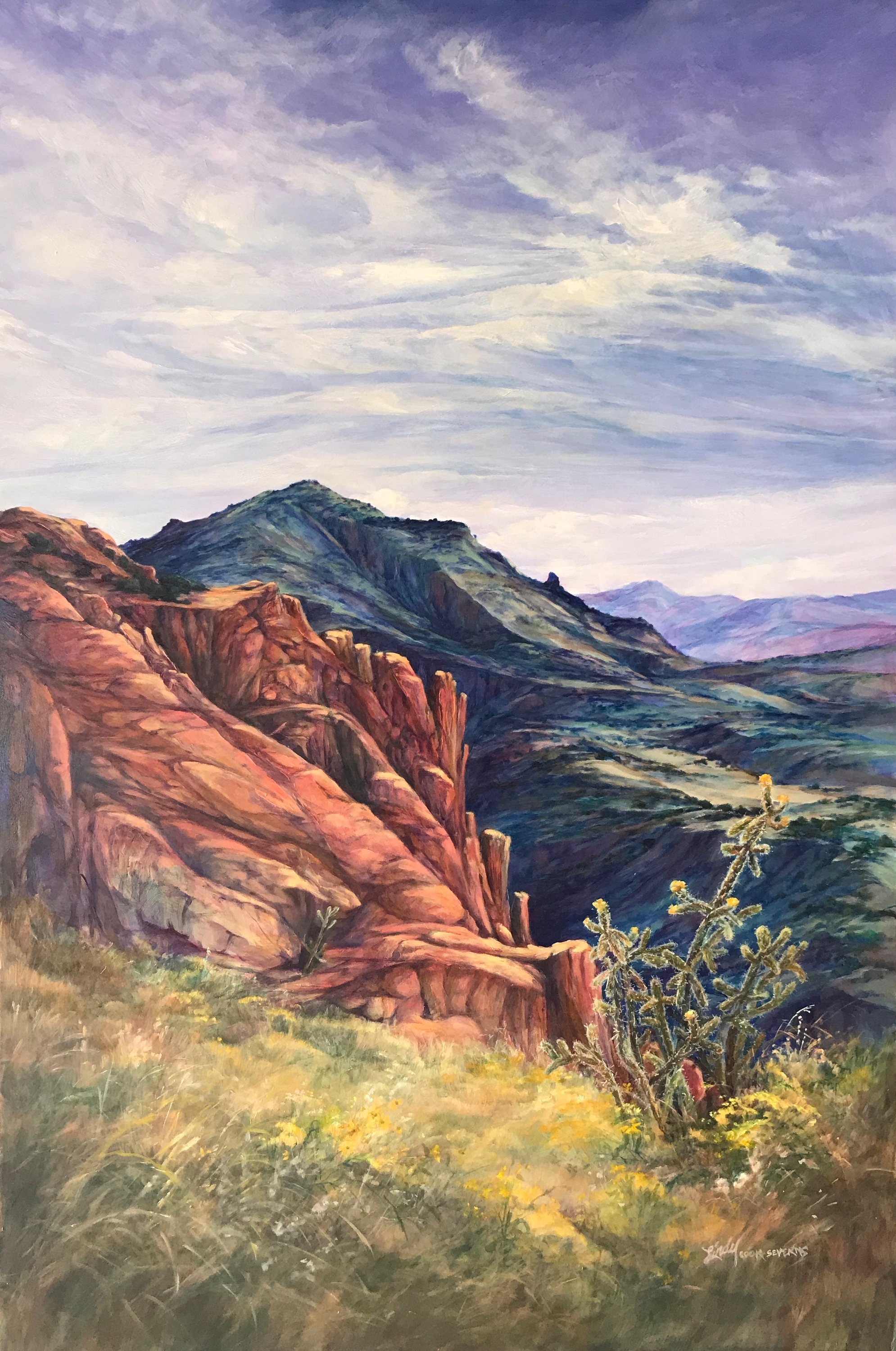 Where the mountains touch the sky 36x24 oil lindy c severns pmdcei