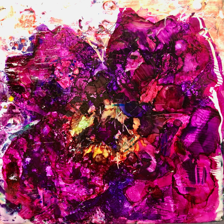 Peony joy 3 encaustic wax on wood 8x8 rdxuzp