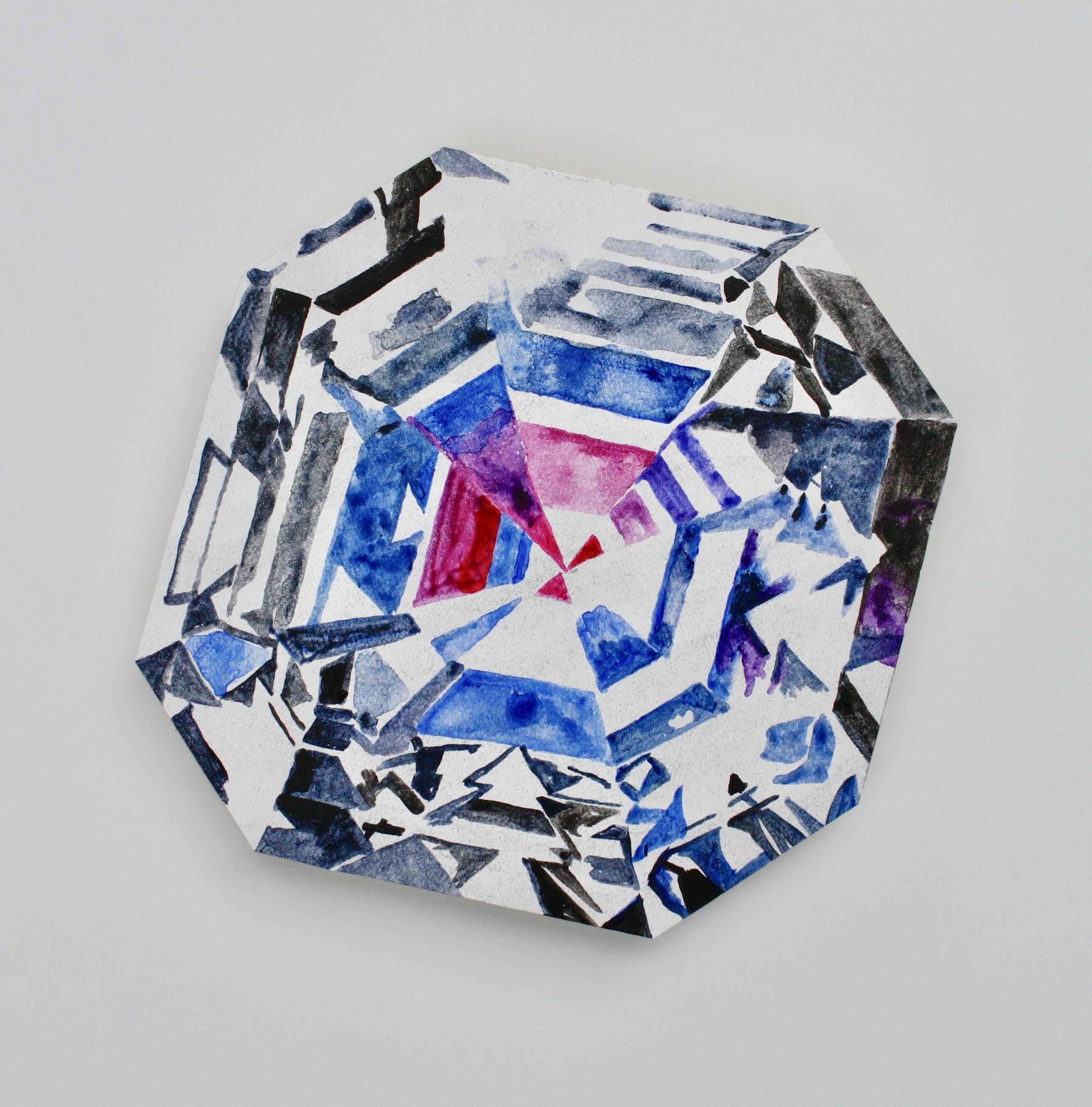 Jyothi asscher cut diamond acrylic and diamond dust on plexiglas zcnxxh