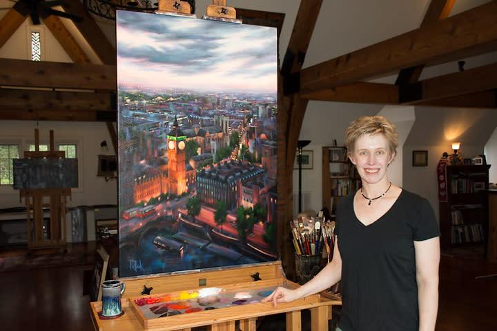 Sarah Pollock in her studio