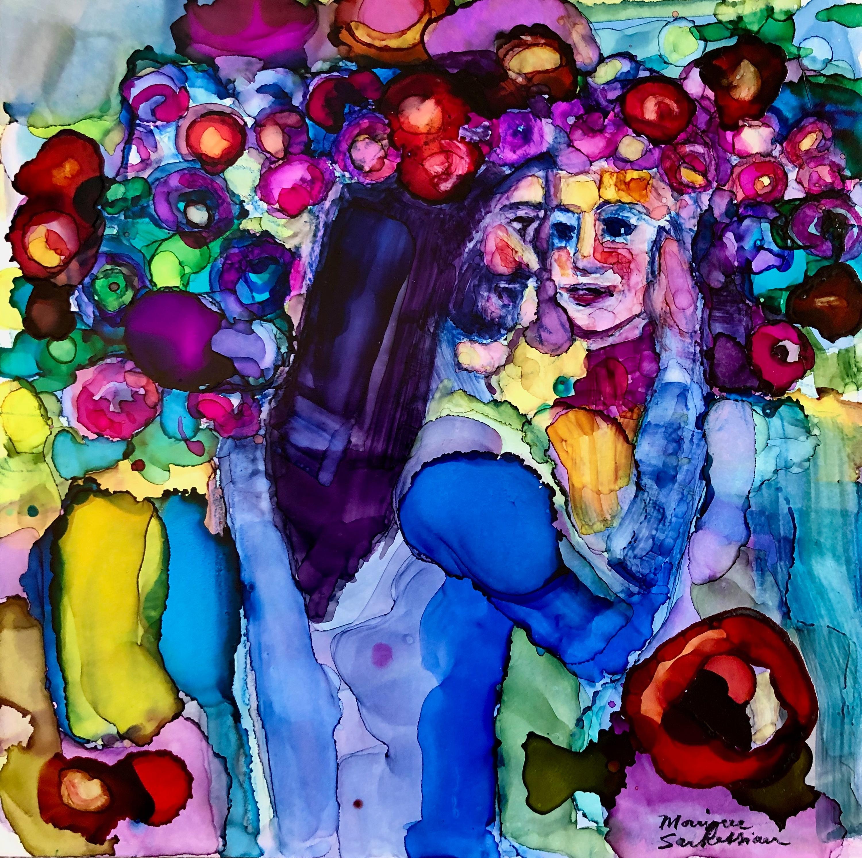 The king s garden alcohol ink on panel 6x6 qolhsa